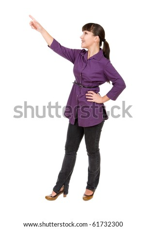 young brunette woman over white background - stock photo