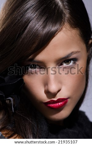 young brunette woman portrait - stock photo
