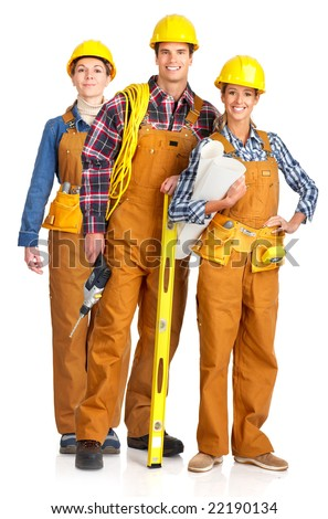 Young builder people  in yellow uniforms. Isolated over white background - stock photo