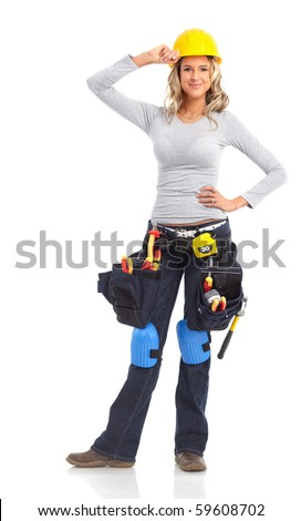 Young builder woman. Isolated over white background - stock photo