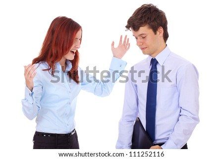 Young business couple argue over something, isolated on white - stock photo