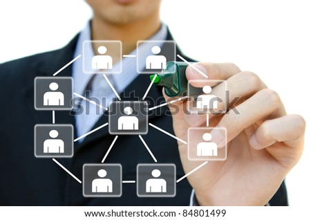 Young business drawing social network structure in a whiteboard. - stock photo