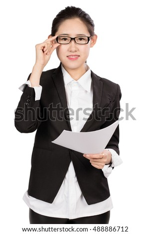 Young business lady in front of a white background