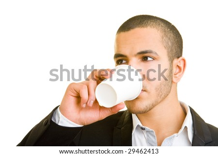 Young business man drinking coffee to go - stock photo