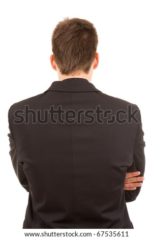 Young business man from back, isolated - stock photo
