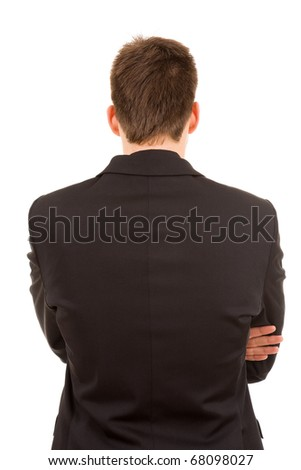 Young business man from back, isolated on white - stock photo