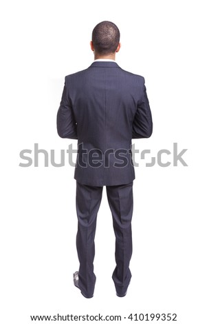 Young business man from back, isolated on white background