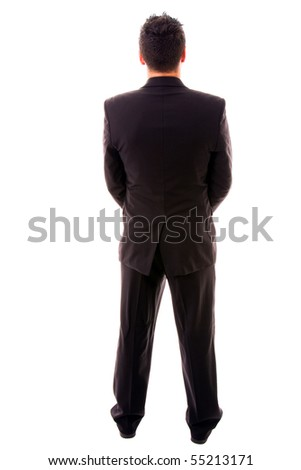 young business man full body from back, on white background