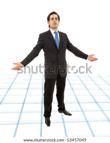 young business man full body waiting with arms open
