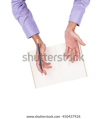 Young business man hands discussing on grid notebook paper background with pencil in the hand, isolated on white background. - stock photo
