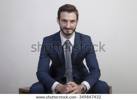 Young Business Man in Suit  - stock photo