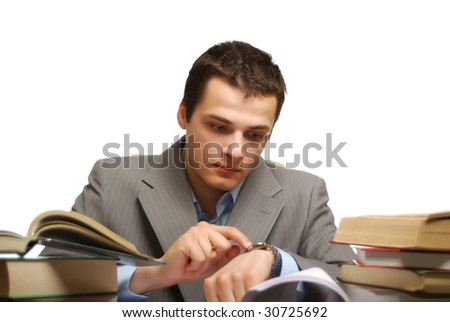 young business man isolated against white background