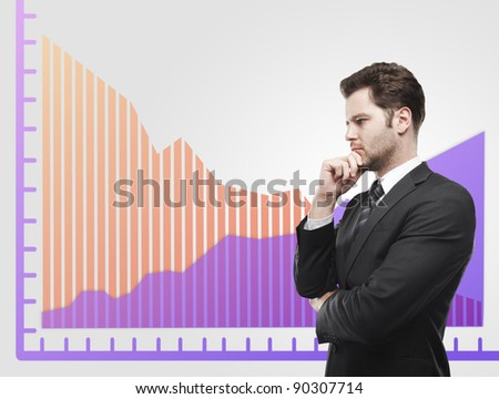 Young business man look at a graphs showing rise and fall in profits or earnings, falling orange. Financial diagrams. Rising arrow, representing business growth. On a gray background