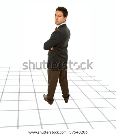 young business man looking back, full body picture - stock photo
