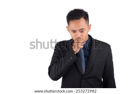 young Business man or manager standing against  white background.