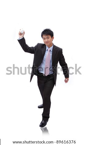 Young Business Man pitching baseball on isolated white background - stock photo