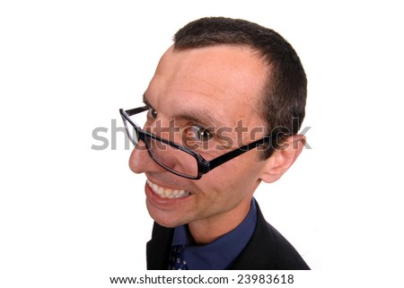 young business man playing silly over white background - stock photo