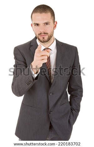 young business man pointing, isolated on white
