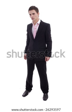 Young business man posing isolated over white