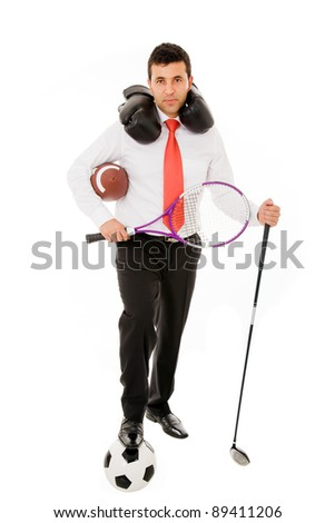 Young business man posing with different sport utensils on white background