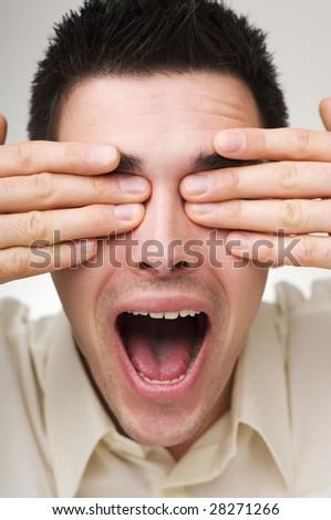 young business man shouting close up shoot - stock photo