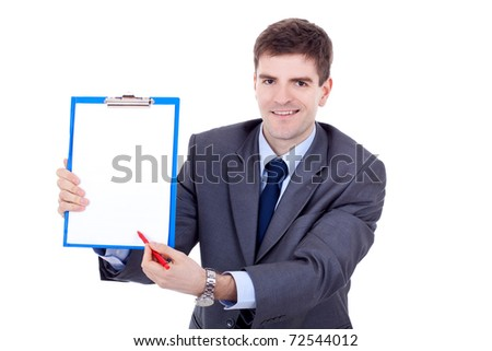 Young business man showing signboard, isolated on white background - stock photo