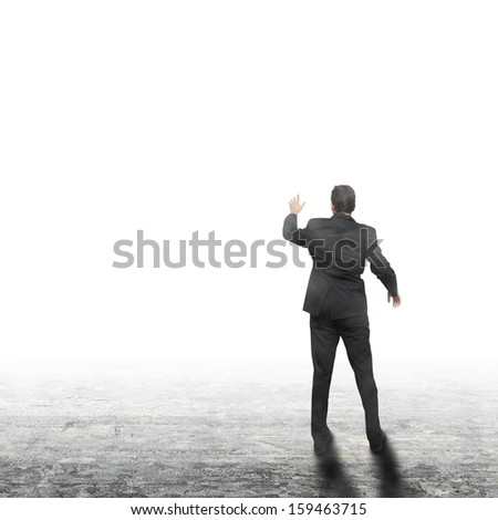 Young business man standing backside - presentation concept