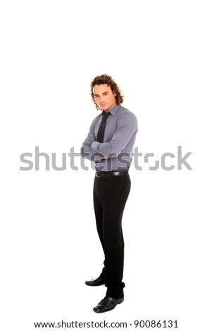 young business man standing with crossed arms  full body isolated on white background
