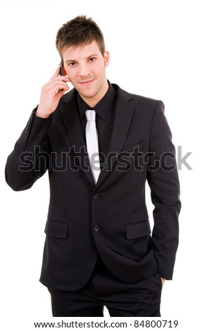 Young business man talking at the mobil phone, isolated over white