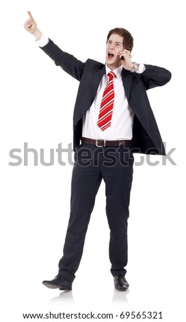Young business man talking on the mobile phone, over white - stock photo