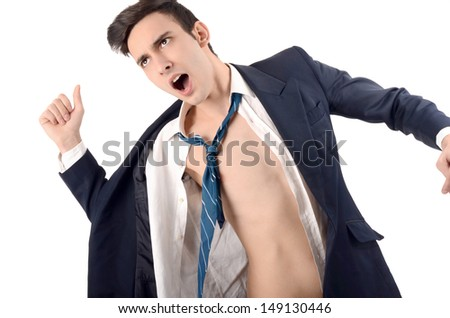 Young business man undressing his suit. Business is over, the stress is too much concept. - stock photo