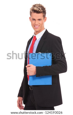 young business man with a blue notepad on white background