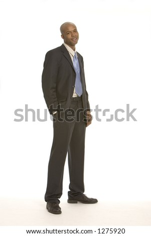 Young business man with a hand in his pocket - stock photo