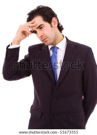 Young business man with a headache, isolated on white