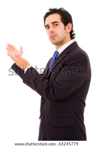 Young business man with arms out in a welcoming gesture to the office, isolated on white