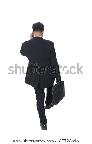 young business man with briefcase on white background  - stock photo