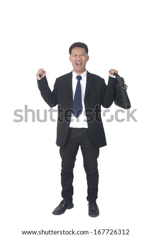 young business man with briefcase talking on the phone on white background