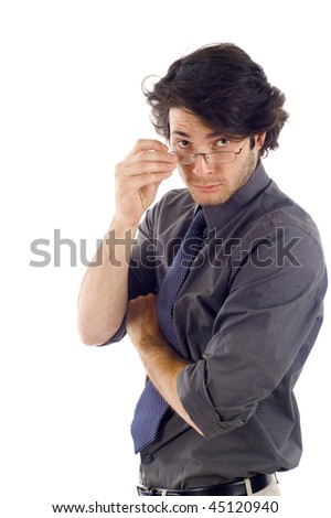Young business man with hand on glasses isolated over white background