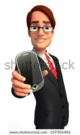 Young Business man with mobile - stock photo
