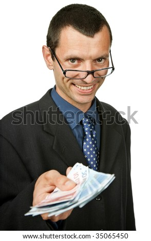 young business man with money, isolated on white background - stock photo