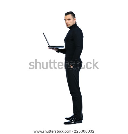 Young business man with notebook on white background - stock photo