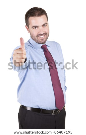 young business man with thumbs up gesture over white background - stock photo