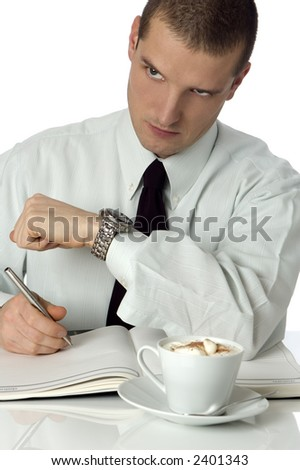 young business men looking at watch close up shoot - stock photo