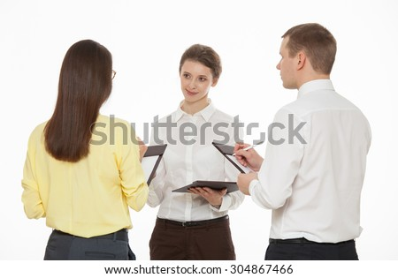 Young business people discussing new business idea, white background