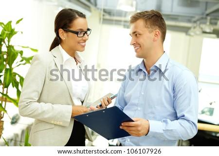 Young business people enjoying their partnership - stock photo