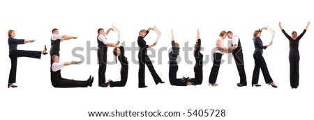 Young business people forming February word over white - business calendar concept - stock photo