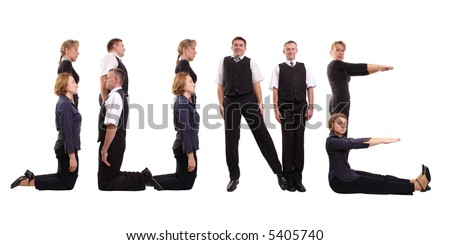 Young business people forming June word over white - business calendar concept - stock photo