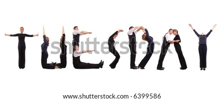 Young business people forming Tuesday word over white - business calendar concept - stock photo