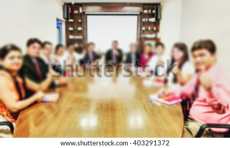 young business people group have meeting and work in modern office buildings bright, blur, bokeh, defocus the image for the background - stock photo