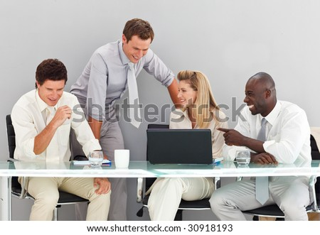 Young business people interacting in a meeting - stock photo